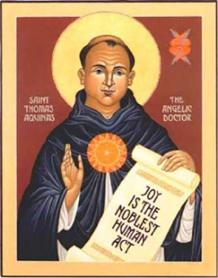 St. Thomas Aquinas holding scroll that says Joy is the Noblest Human Act